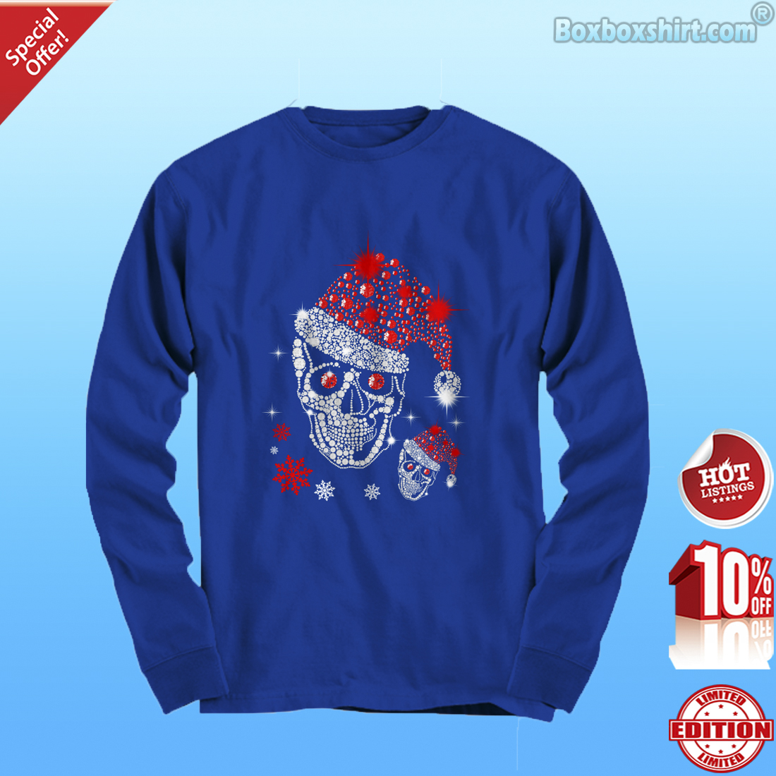 Christmas Rhinestone Smiling Skull- Long Sleeve Tee