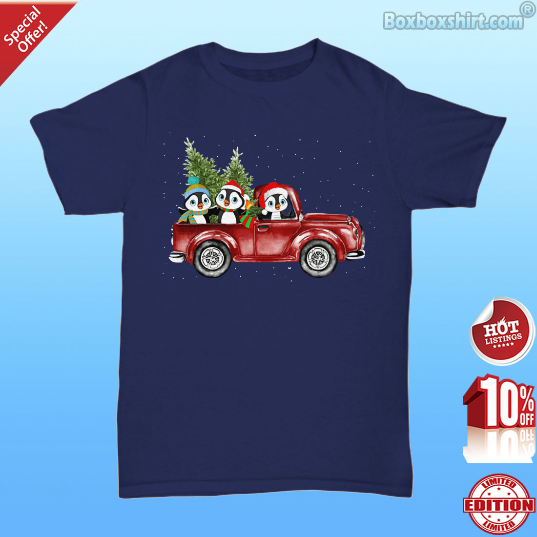 Christmas penguins drive car shirt