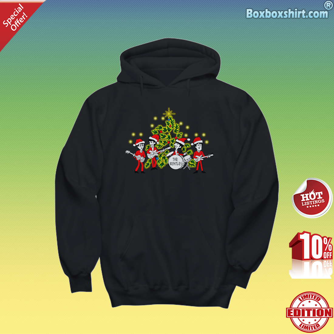 The beatles Singing Christmas Tree Hoodie