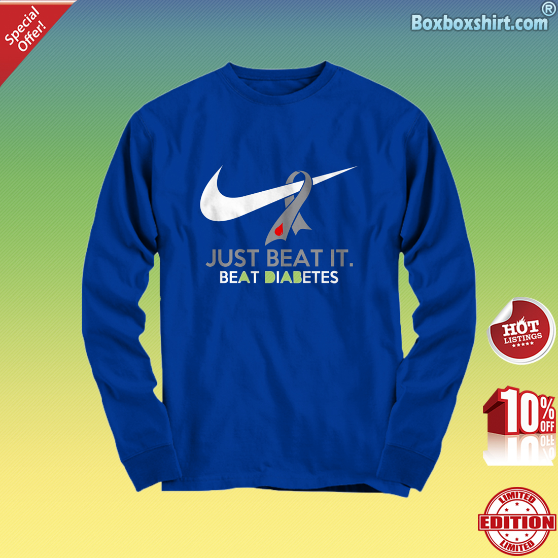Just beat it beat diabetes Long Sleeve Tee
