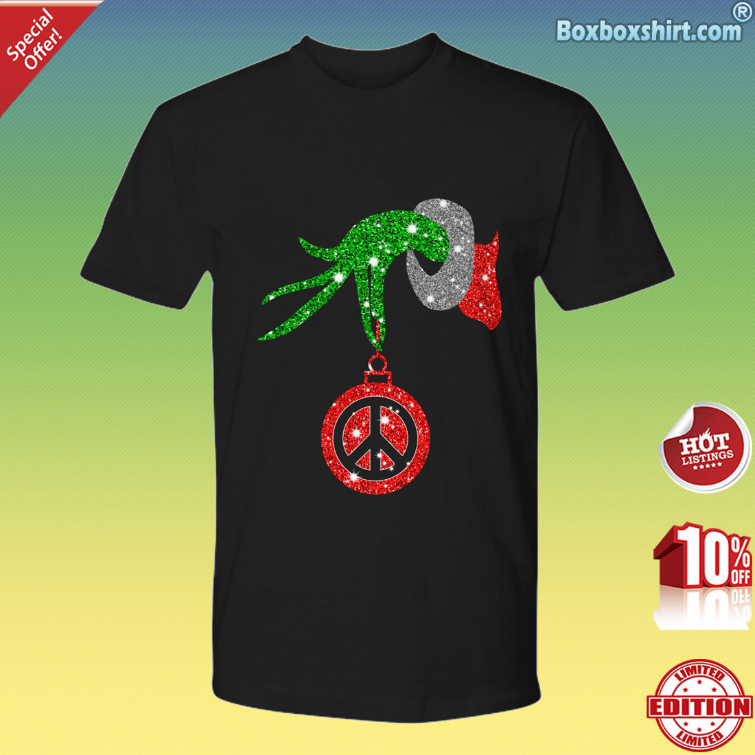 Grinch hand holding peace ornament Christmas Premium Tee