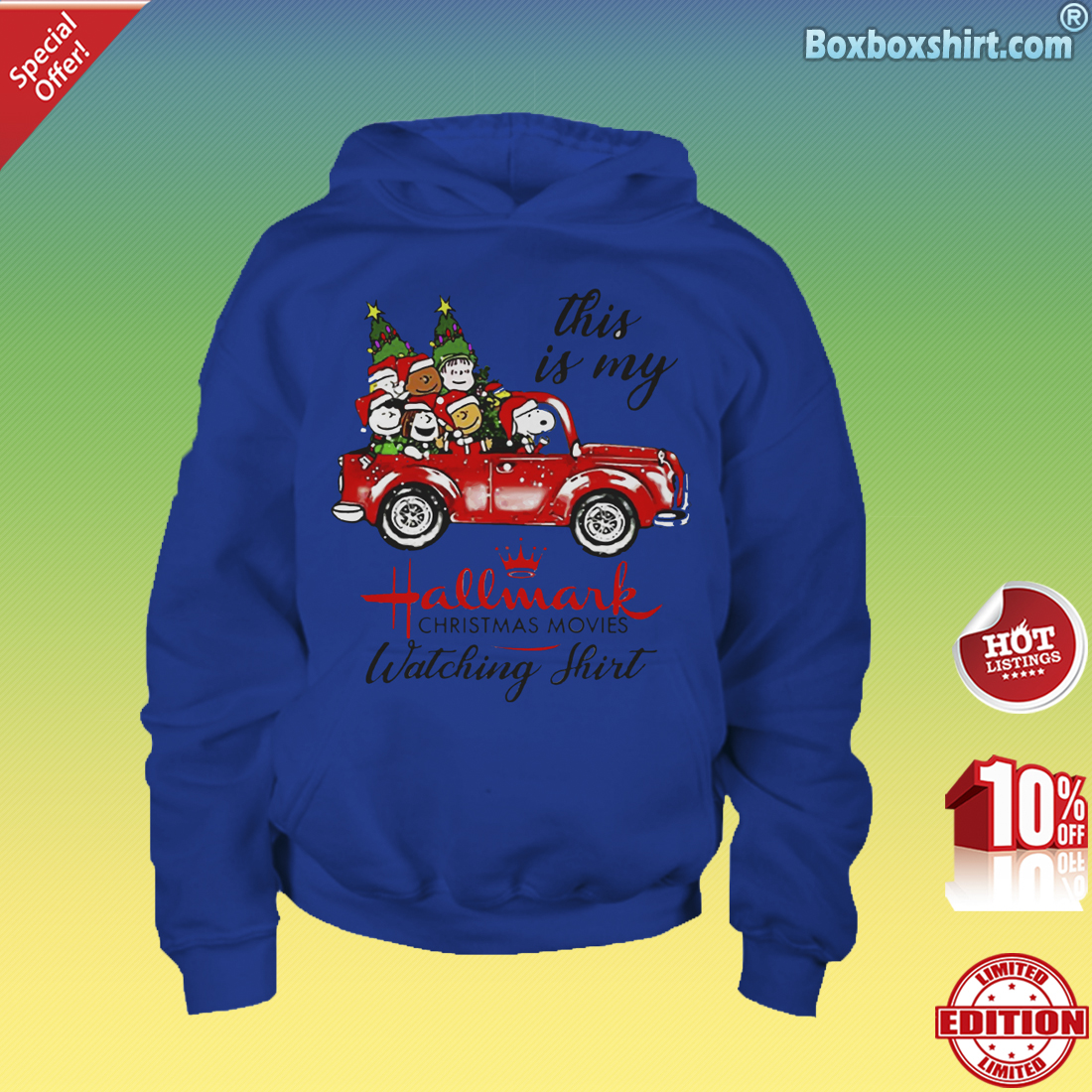 Snoopy and friend this is my Hallmark Christmas Movies-Youth Hoddie
