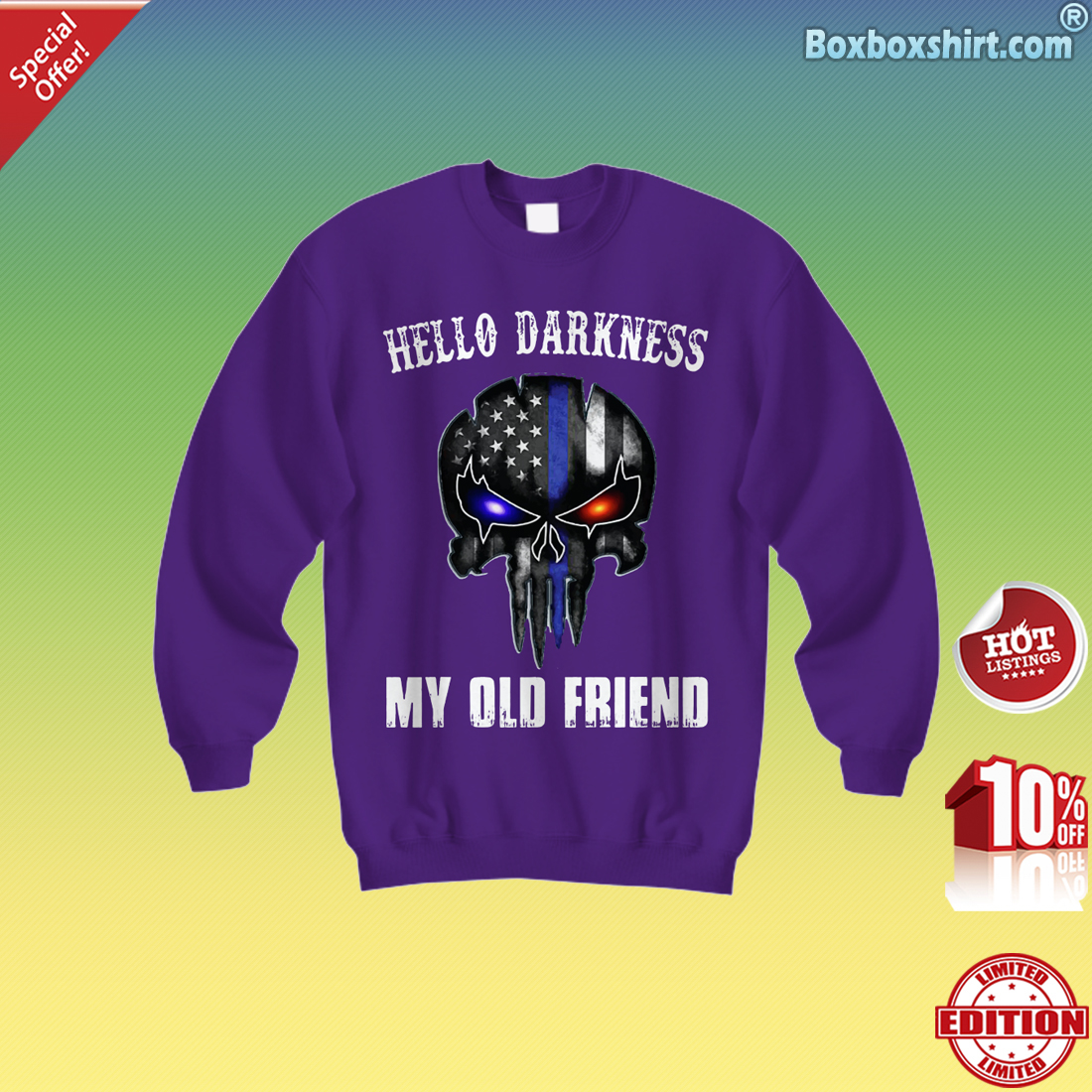 American skull hello darkness my old friend Sweatshirt
