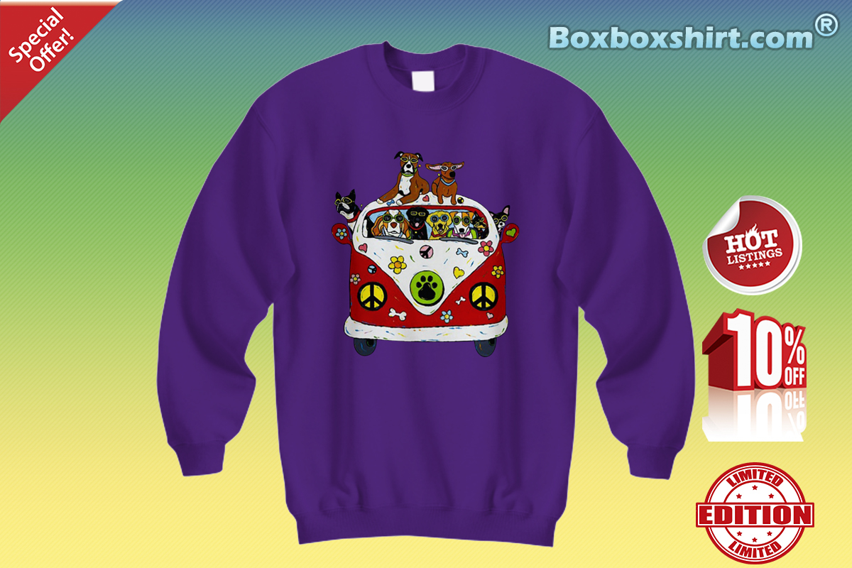 Hippie flower peace bus dog Sweatshirt