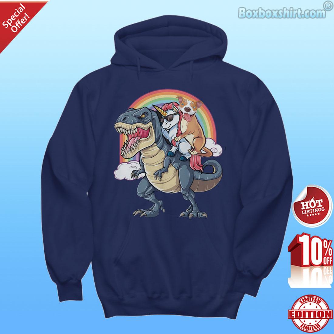 Unicorn and a pit bull riding a dinosaur shirt