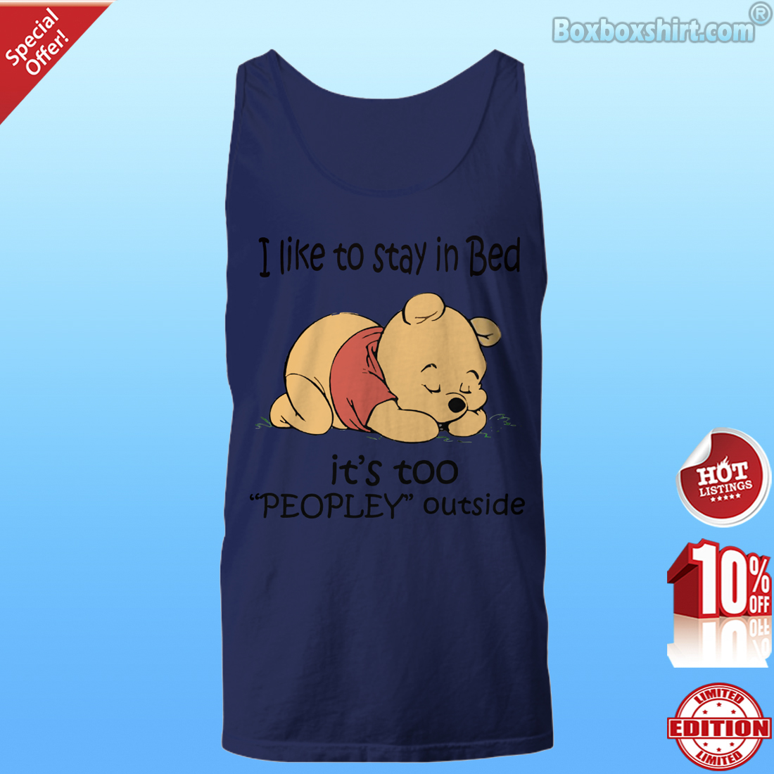 Pooh I like to stay in bed too peopley outside Unisex Tank Top