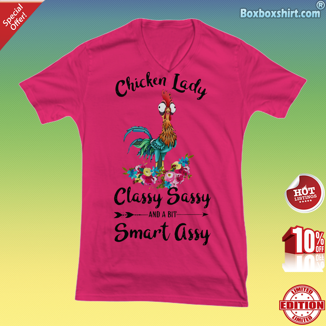 Chicken lady classy sassy and a bit smart assy V-Neck Tee
