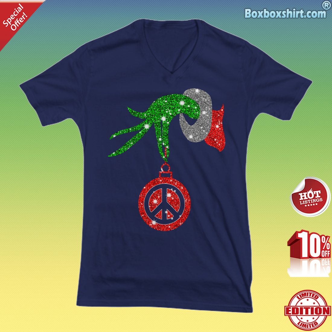 Grinch hand holding peace ornament Christmas V-neck Tee
