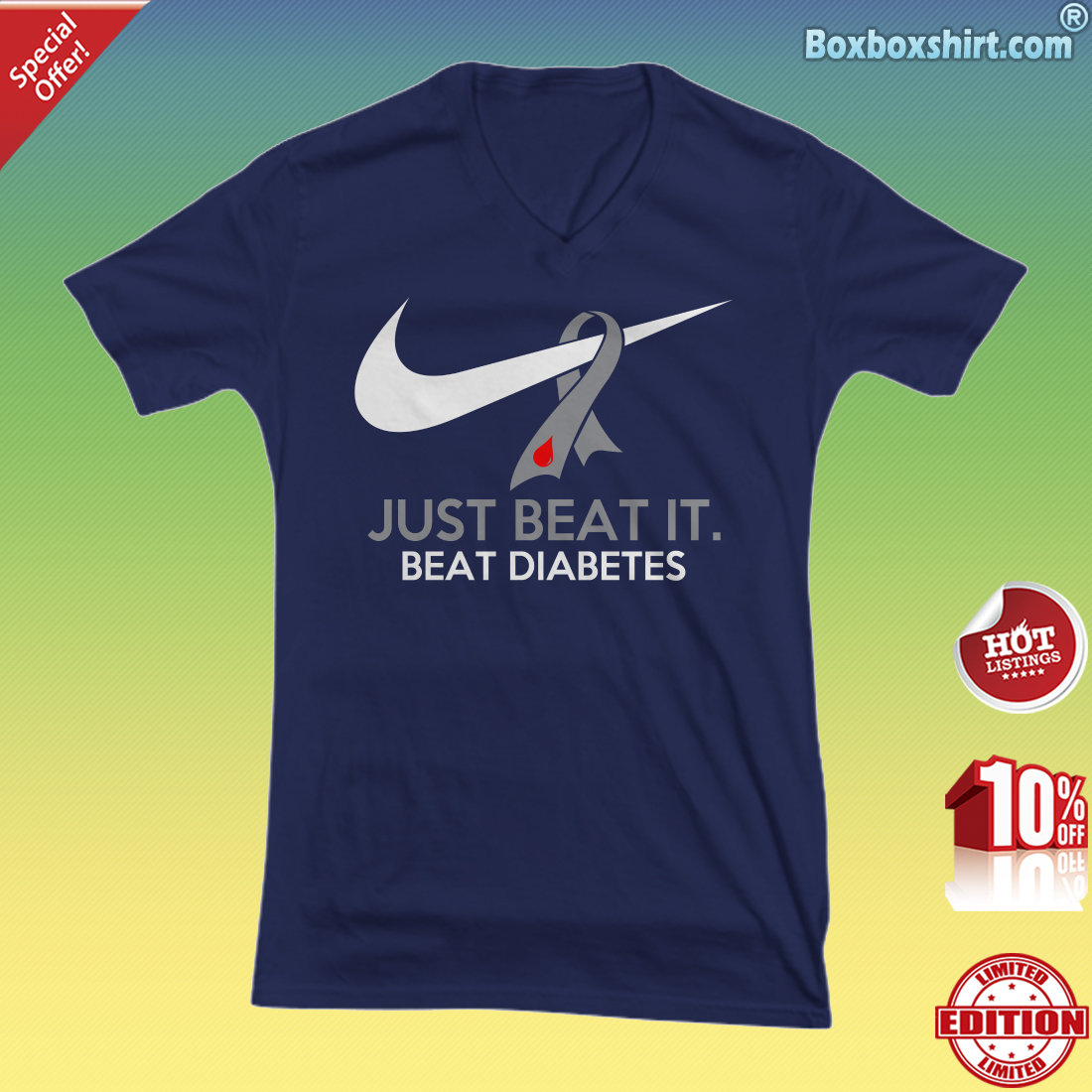 Just beat it beat diabetes V-neck Tee