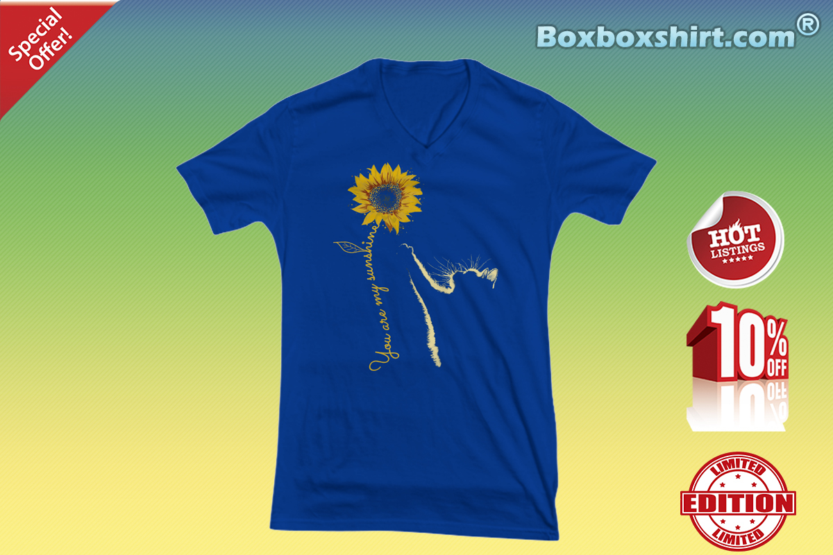 You are my sunshine sunflower cat V-neck tee