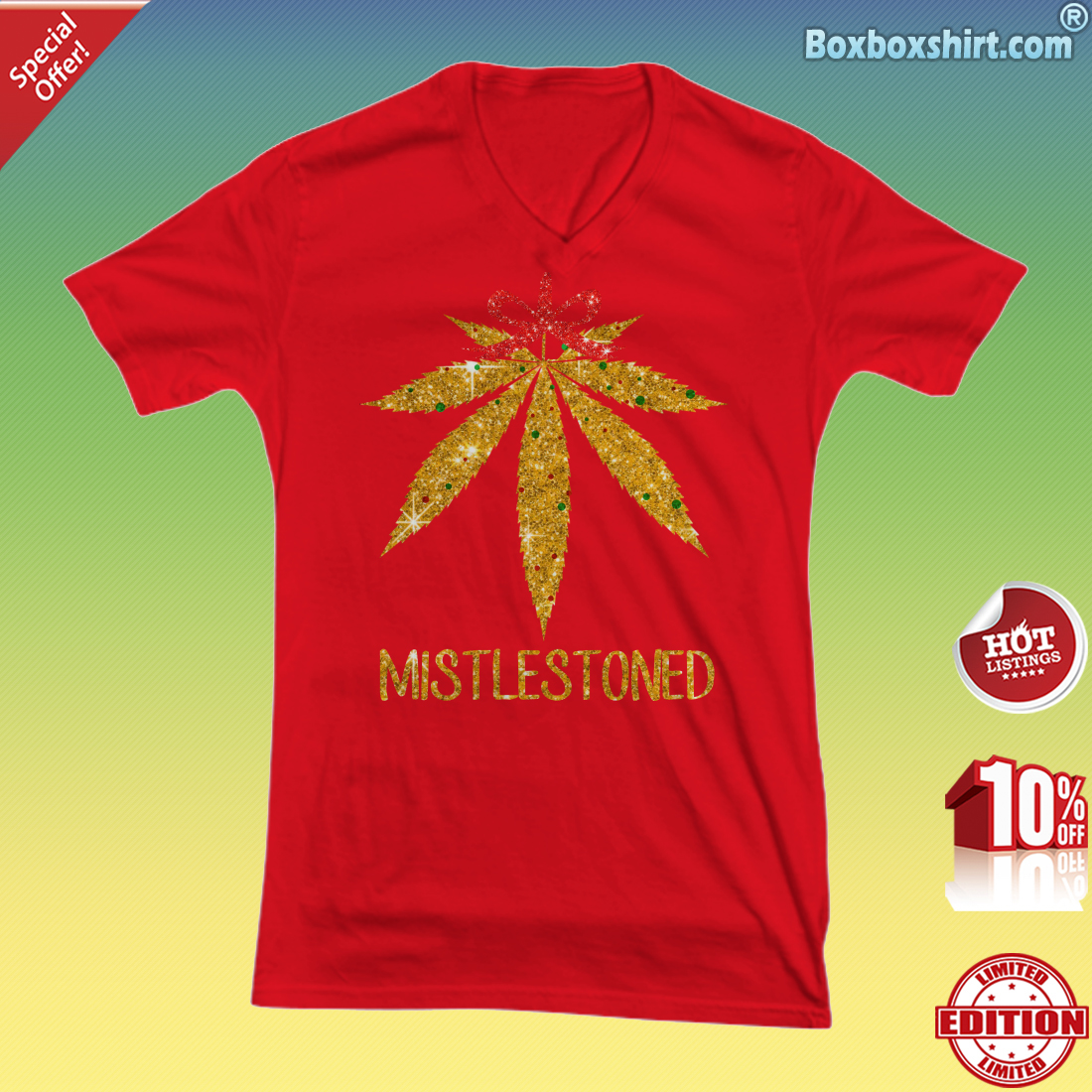 Cannabis mistletoe mistlestoned V-neck tee