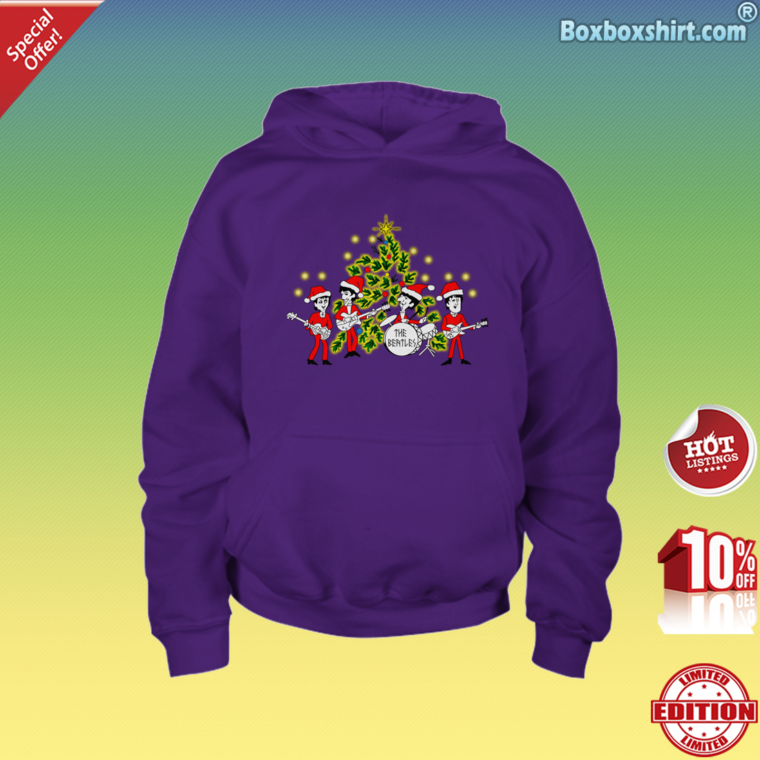 The beatles Singing Christmas Tree Youth Hoodie