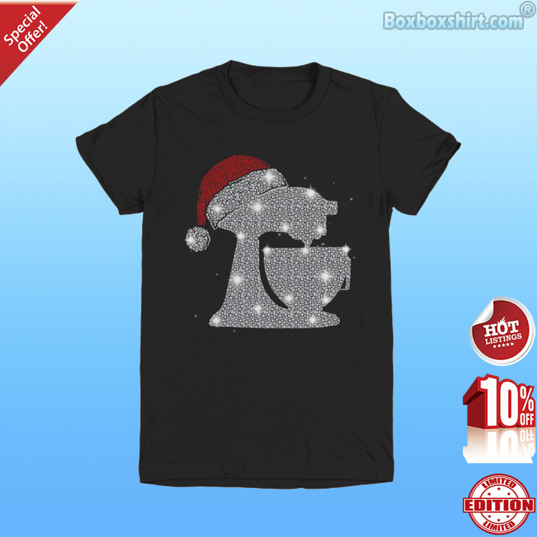 Baking diamond glitter santa hat shirt