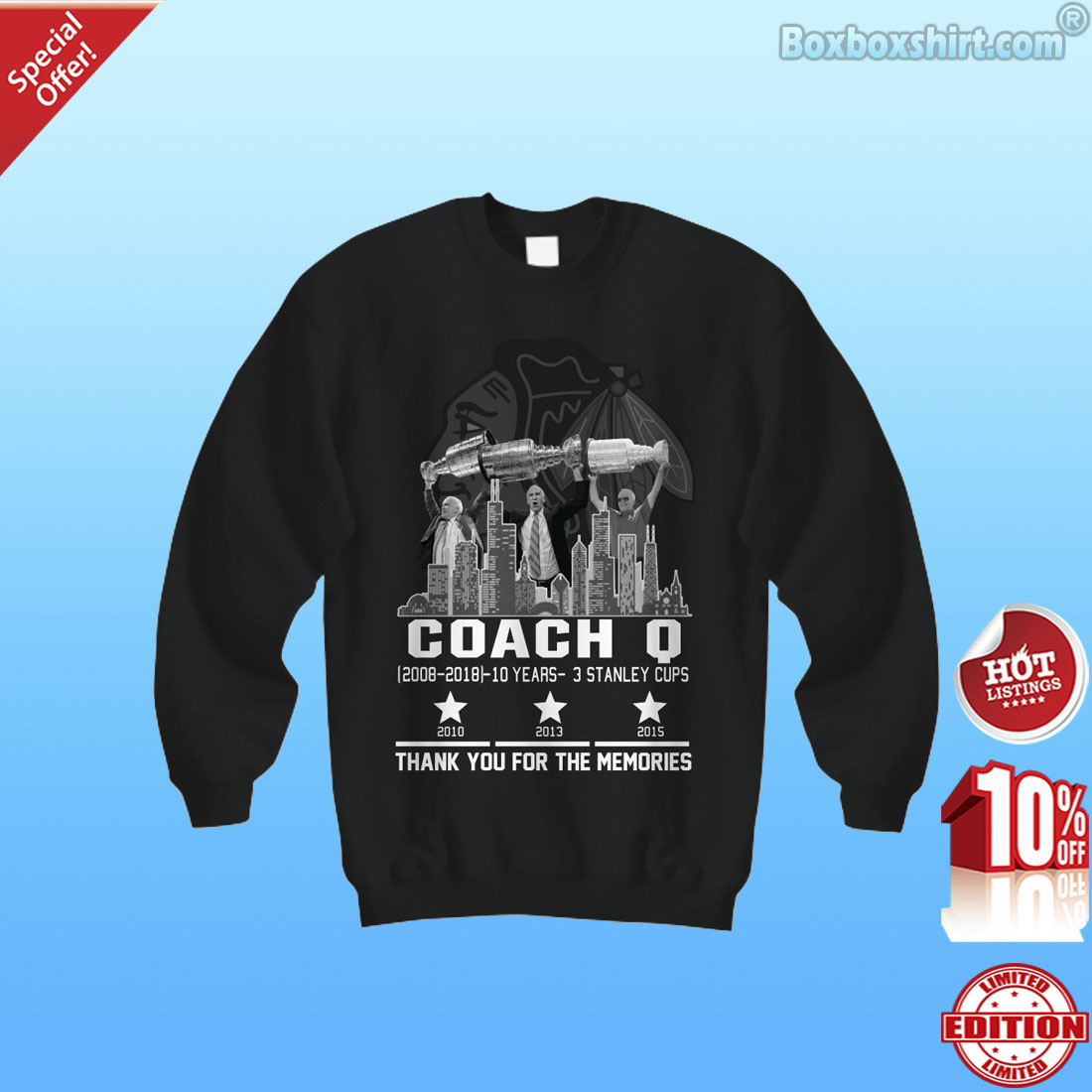 Chiago Blackhawks  Joel Quennevilcoach Q thank you for the memories shirt 2