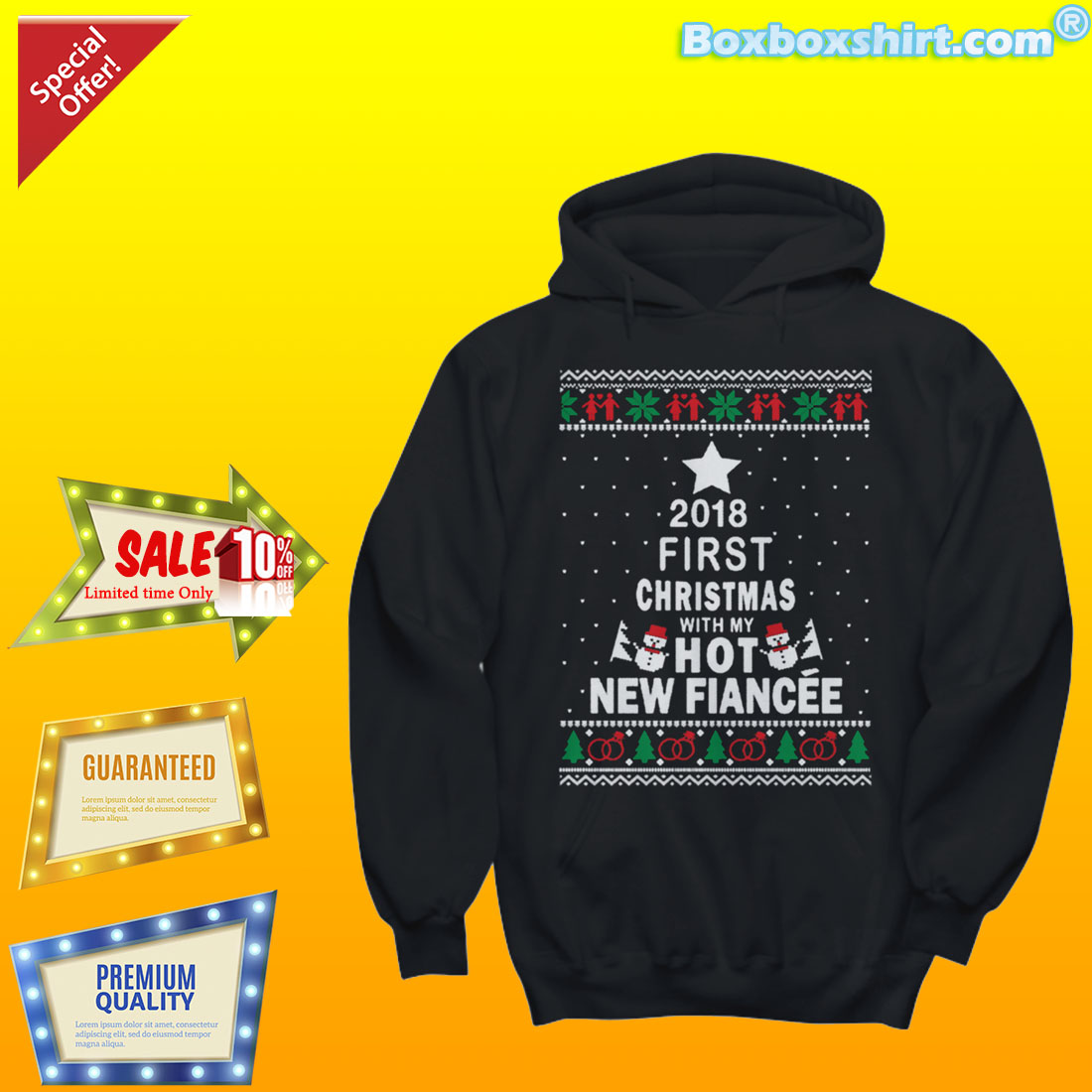 Christmas with my hot new fiancee ugly Christmas sweater shirt