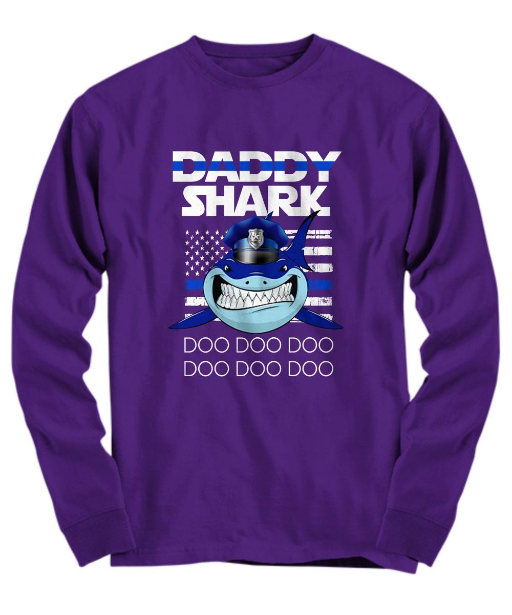 Daddy shark doo doo doo shark police american flag shirt