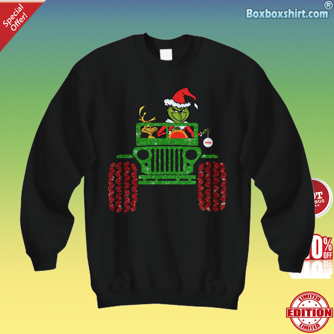 7c99fc765cf1 Grinch and max drive jeep shirt, hoodies,unisex tee