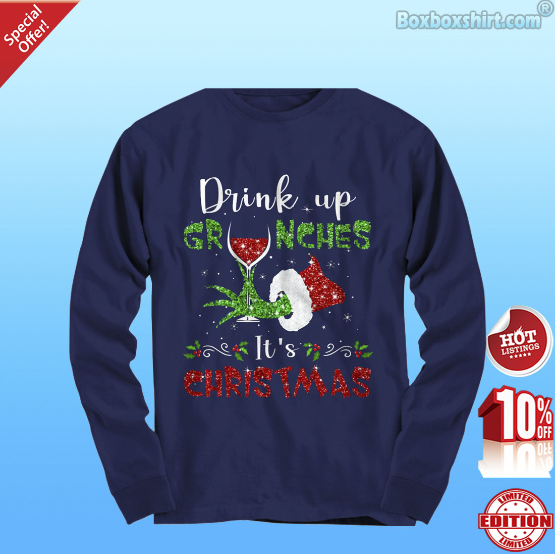 c60b58c4 Grinch hand drink up grinches it's Christmas shirt, hoodie and ...