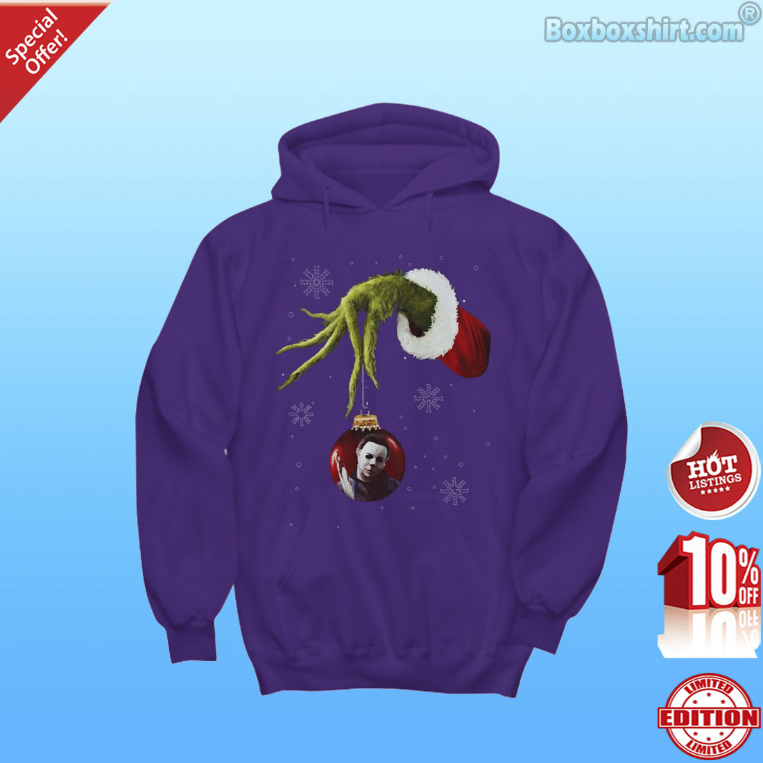 Grinch hand holding Micheal Myers ornament shirt
