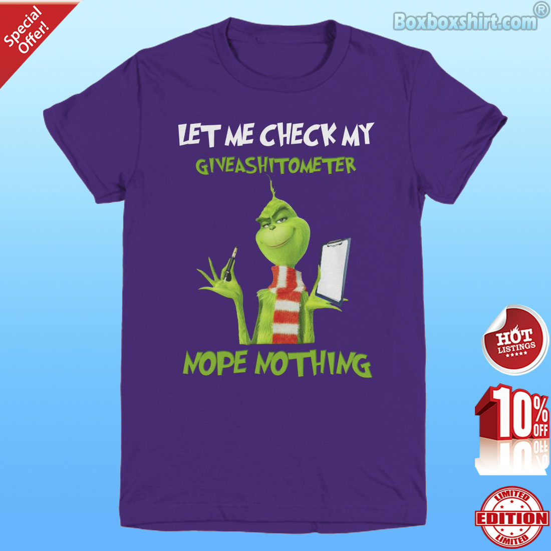 Grinch let me check my giveashitometer nope nothing shirt