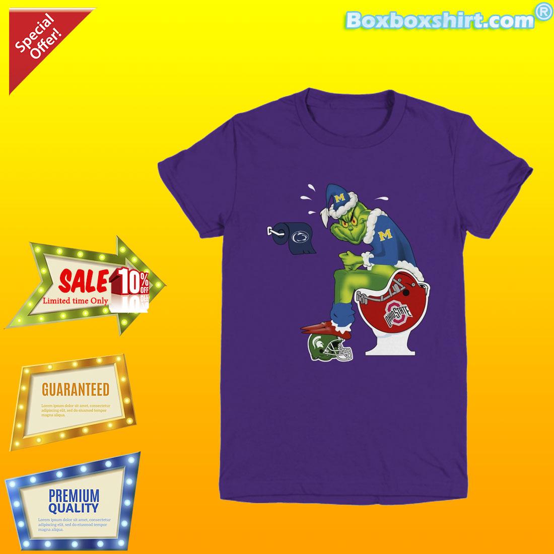 Grinch santa on toilet NFL team logo shirt