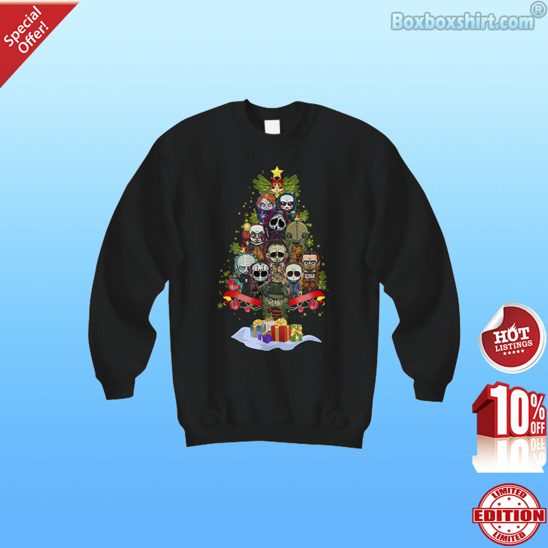 Horror movie characters Christmas tree shirt