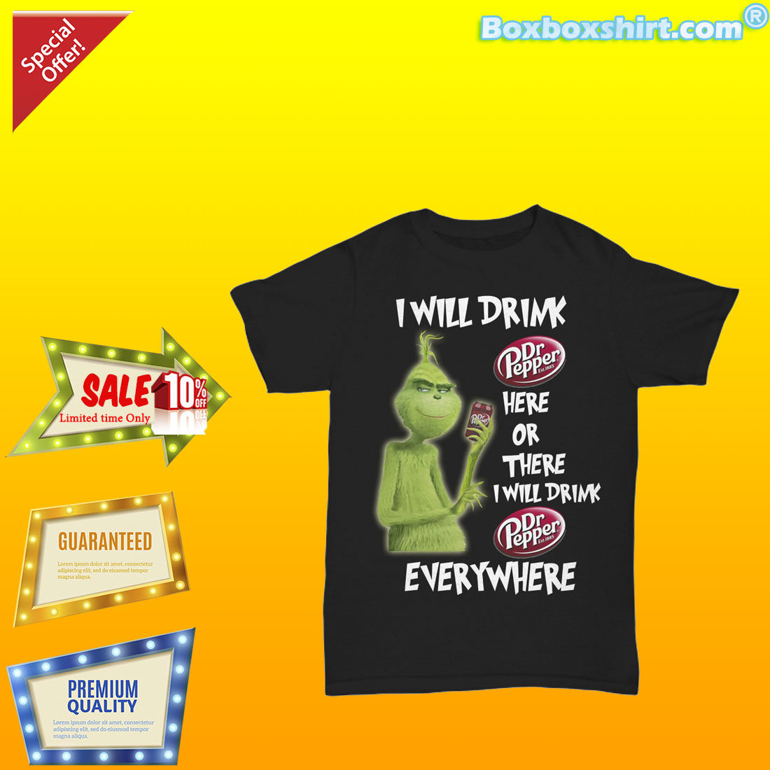957295b2 I will drink Dr Pepper here or there everywhere shirt