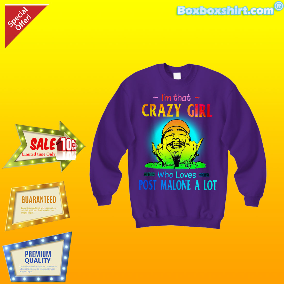 9e000f2d4 I'm that crazy girl who loves Post Malone a lot shirt