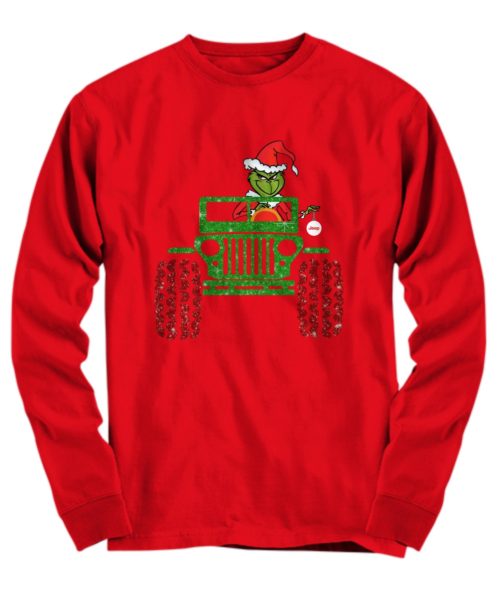 Merry Christmas Grinch drives jeep shirt