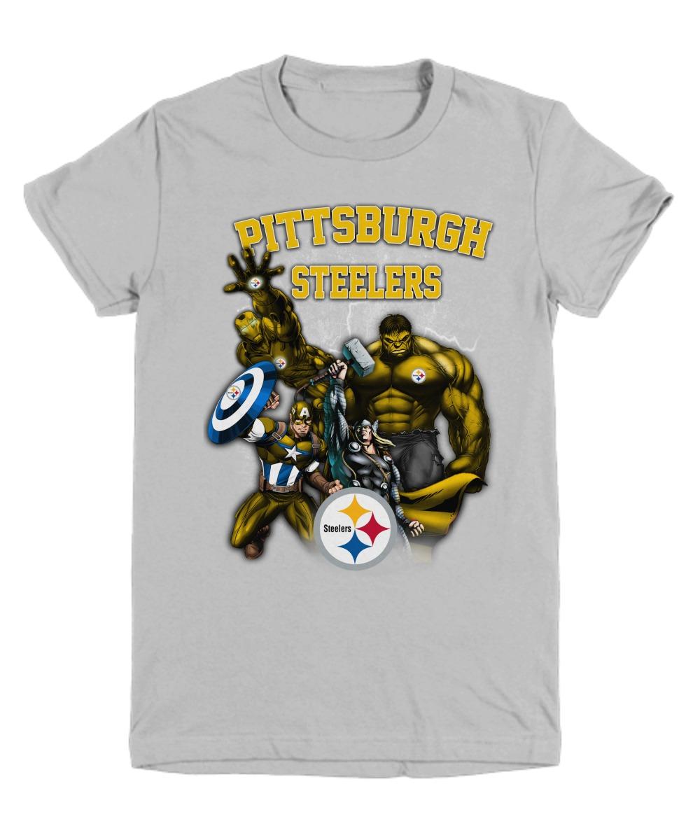 Pittsburgh Steelers logo Avenger heroes Hulk Captain American Thor Ironman shirt