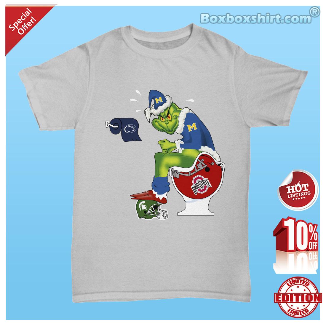 Santa Grinch sit on toliet NFL logo team shirt 1