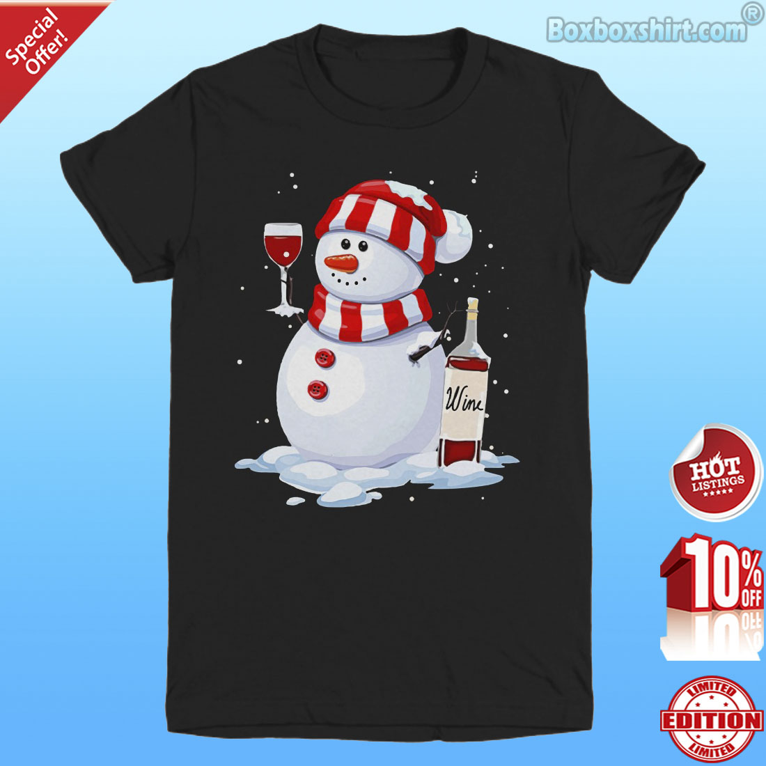 Snowman drinking Christmas wine shirt