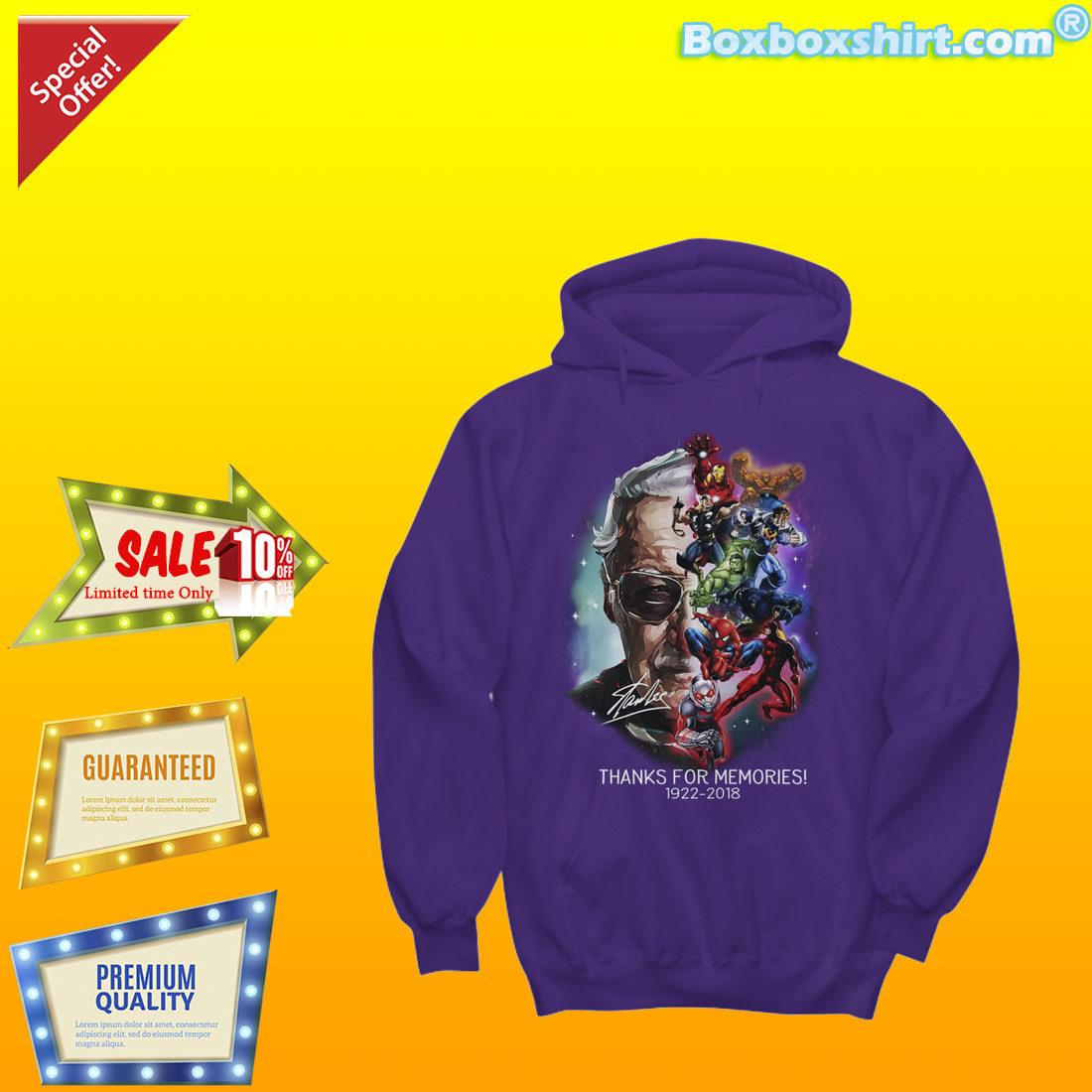Stan Lee marvel heroes thanks for memories shirt