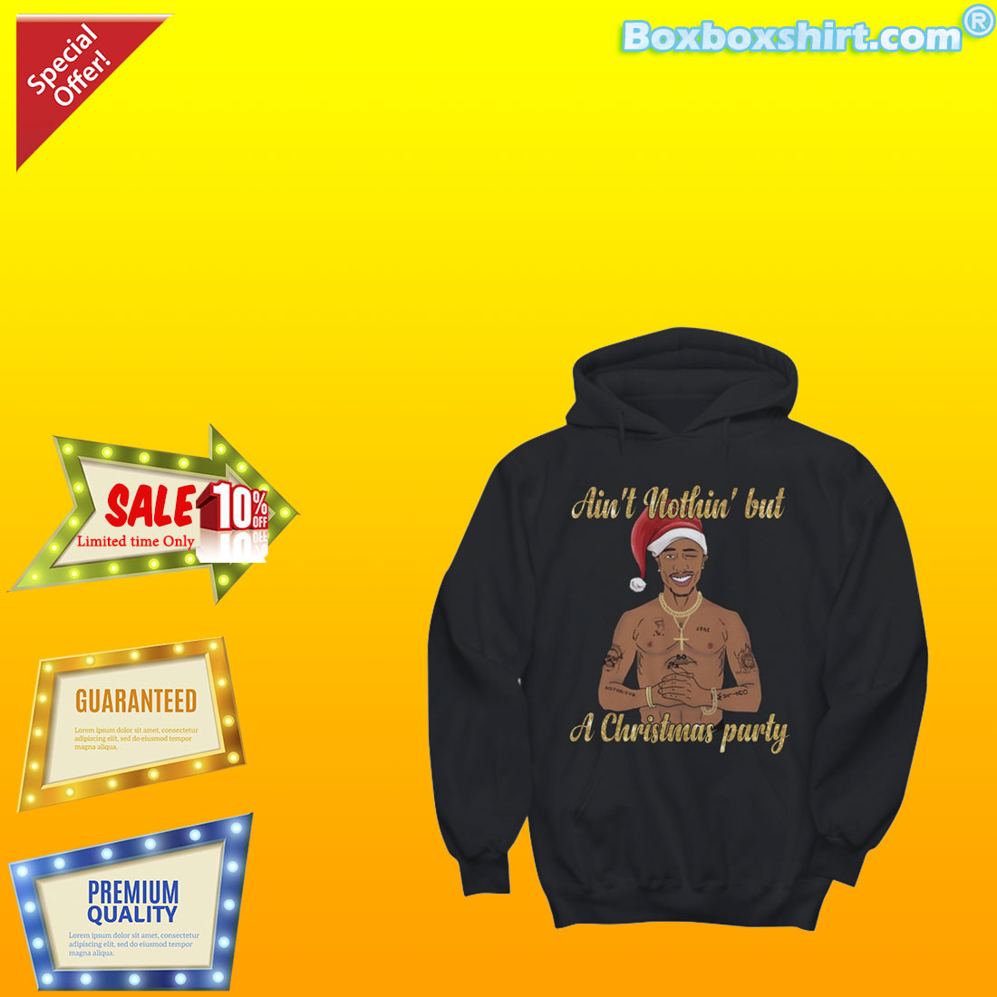 Tupac Shakur Ain't nothing but a Christmas party shirt