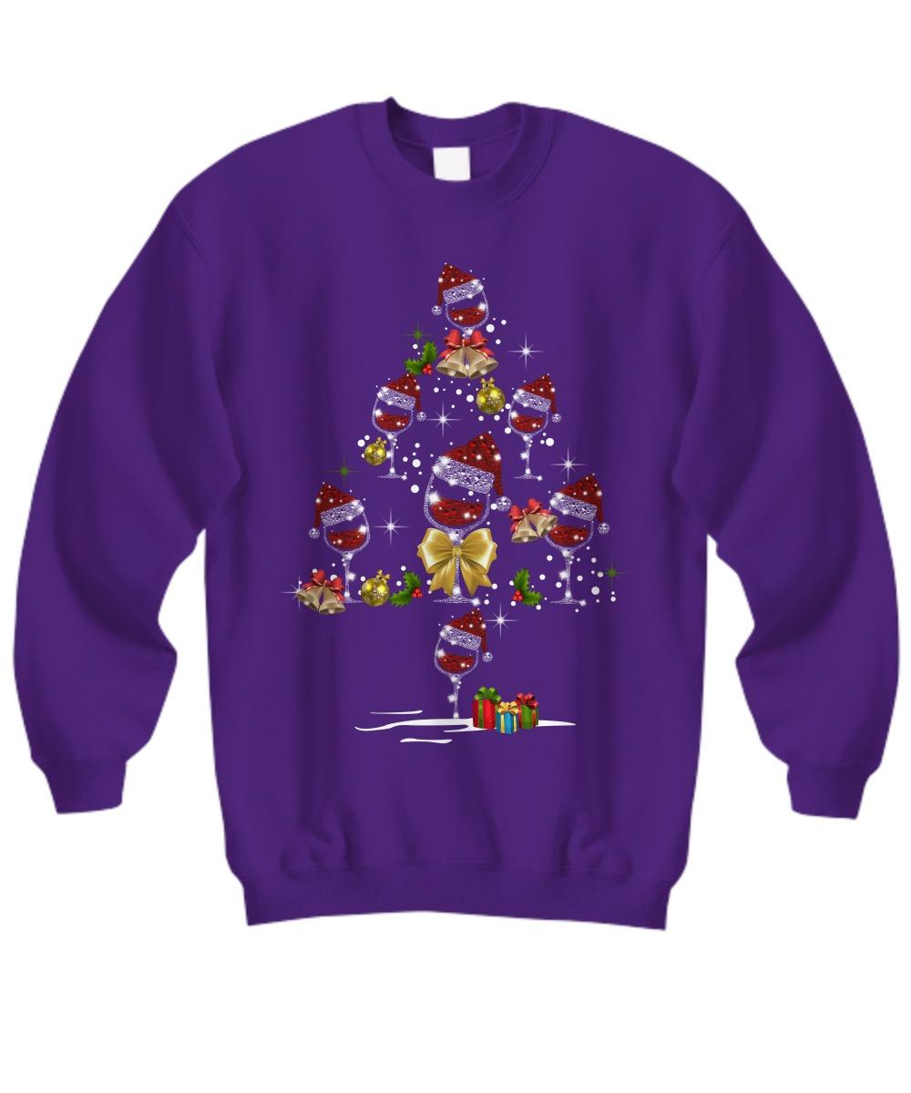 Wine santa hat Christmas tree shirt