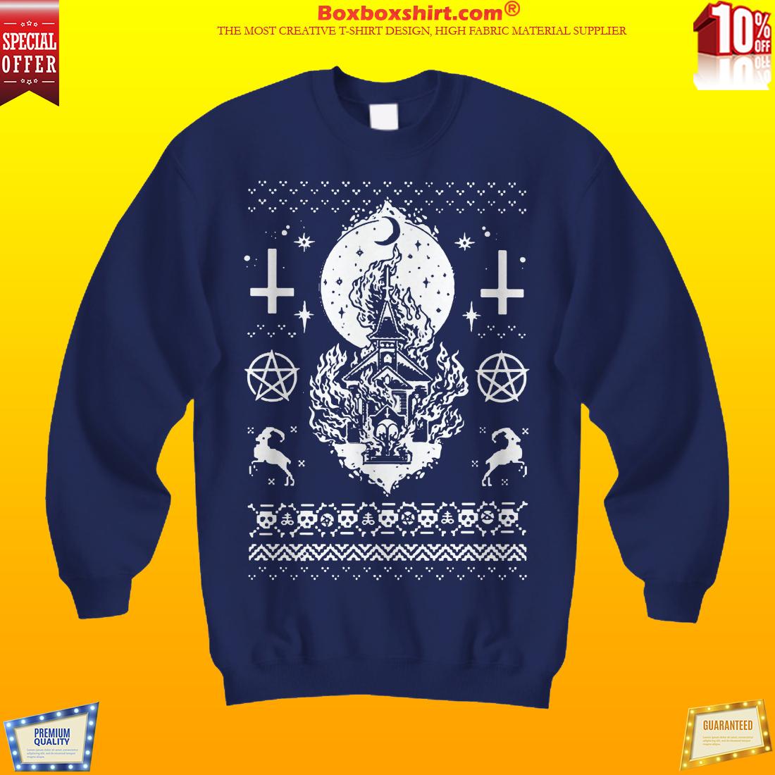 Church burning Christmas sweater