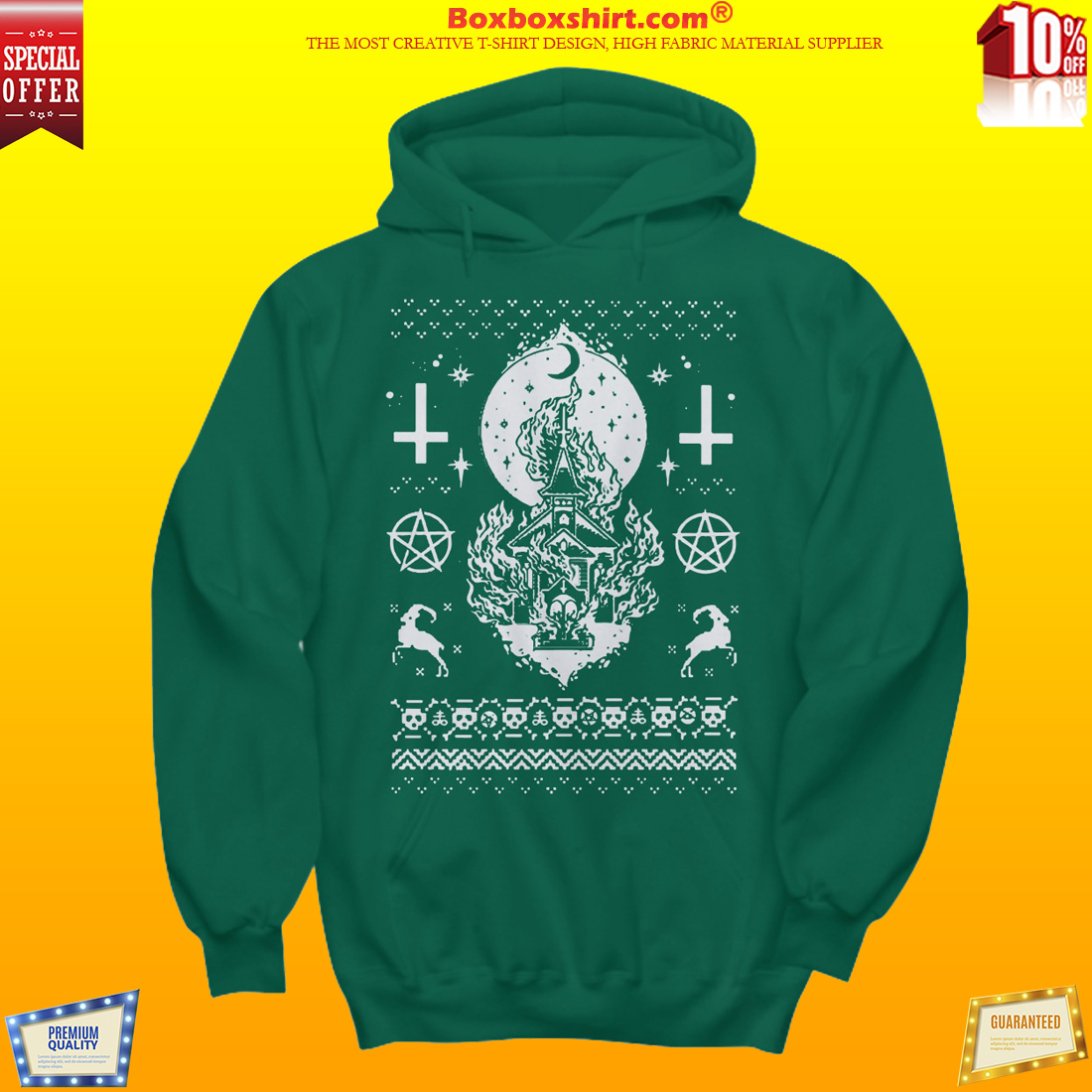 Church burning Christmas sweater