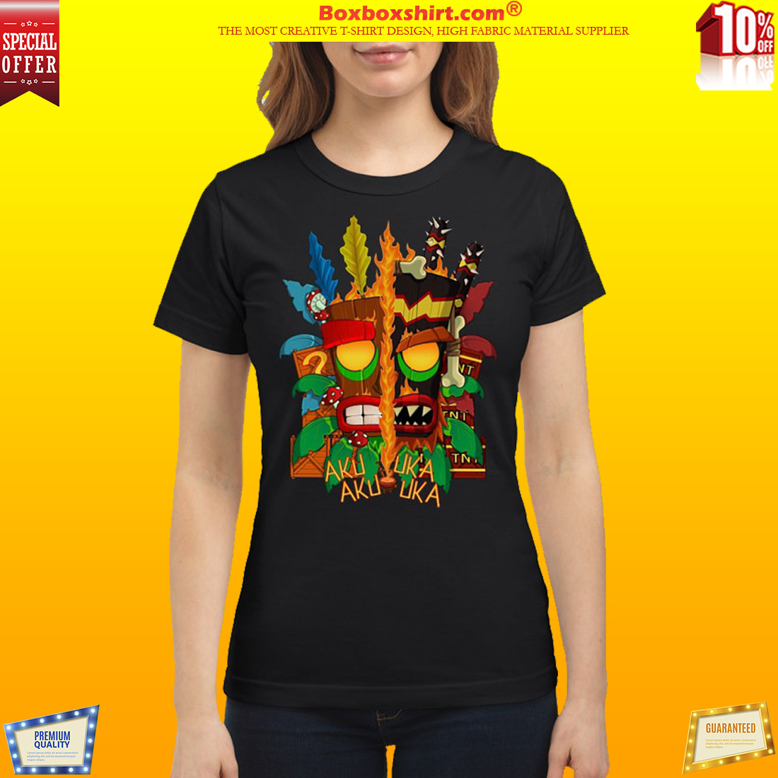 Crash bandicoot aku aku mask classic t shirt