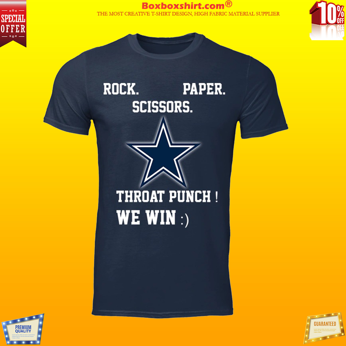3b482651d7b Dallas cowboys rock paper scissors throat punch we win shirt