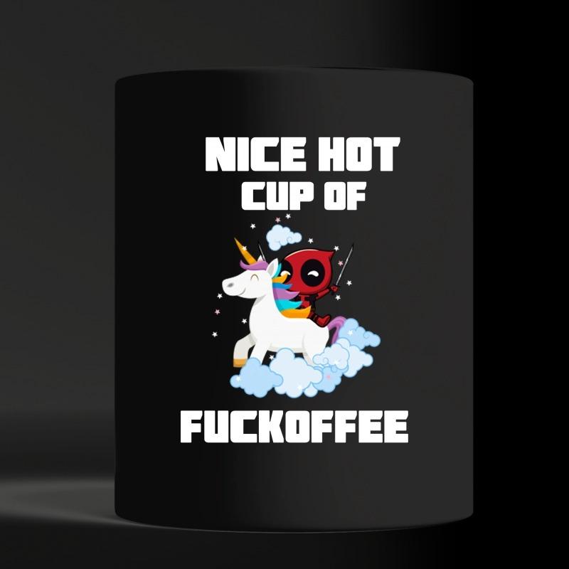 Deadpool unicorn nice hot cup of fuckoffee black mug