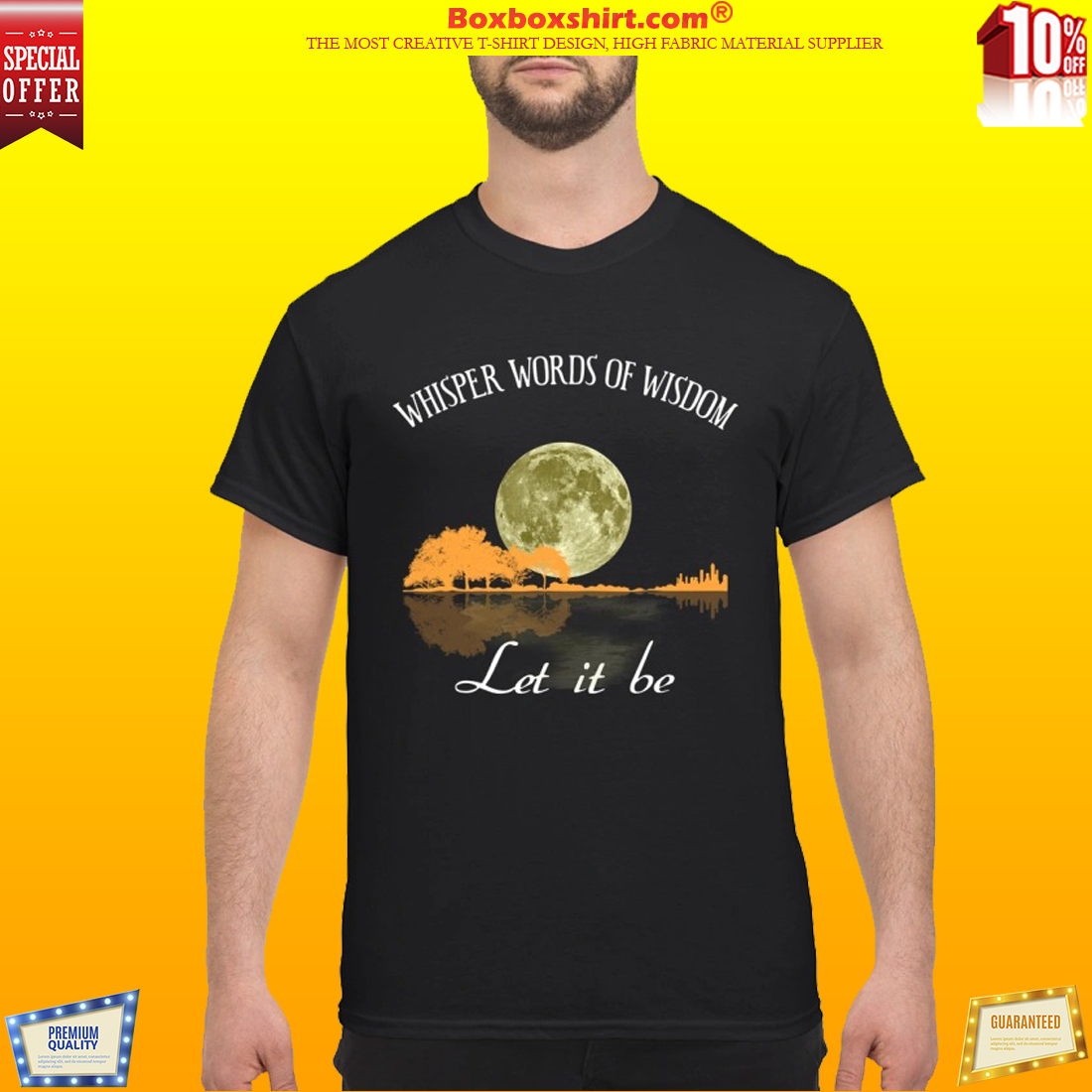 Guitar and moon whisper words of wisdom let it be shirt