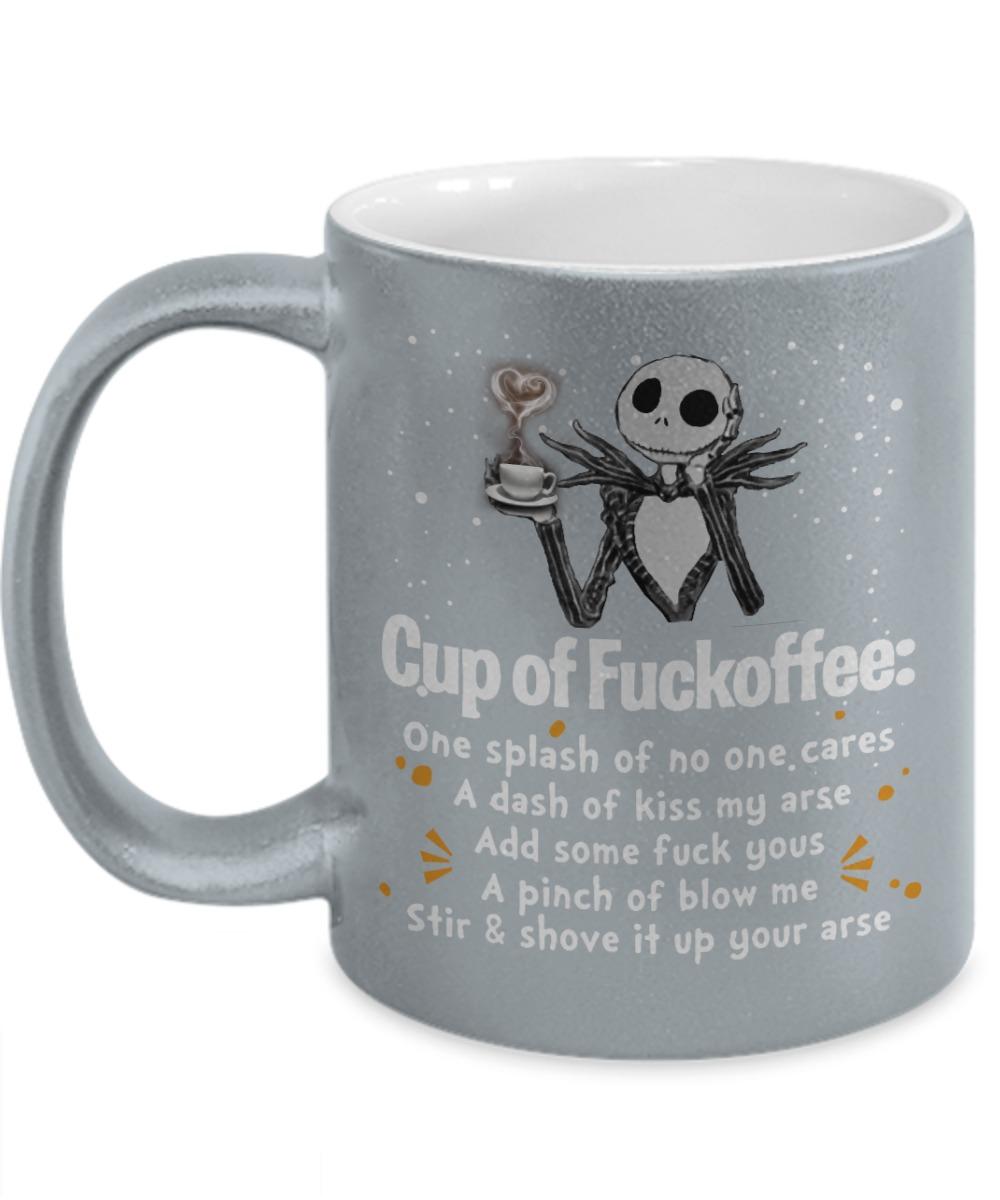 Jack Skellington cup of fuckoffee splash no one care dash kiss my arse silver mug
