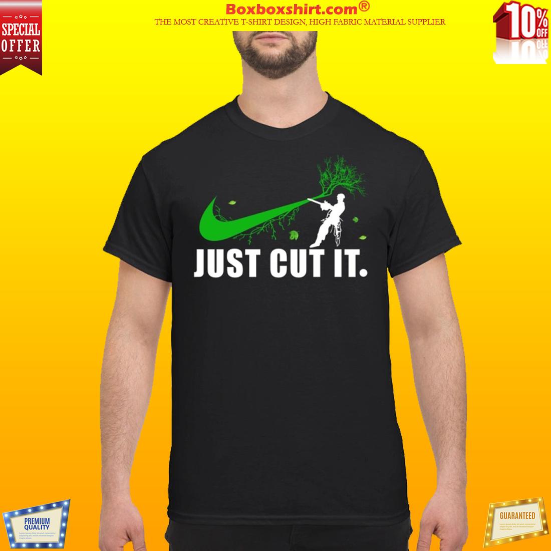Nike logo green just cut it shirt
