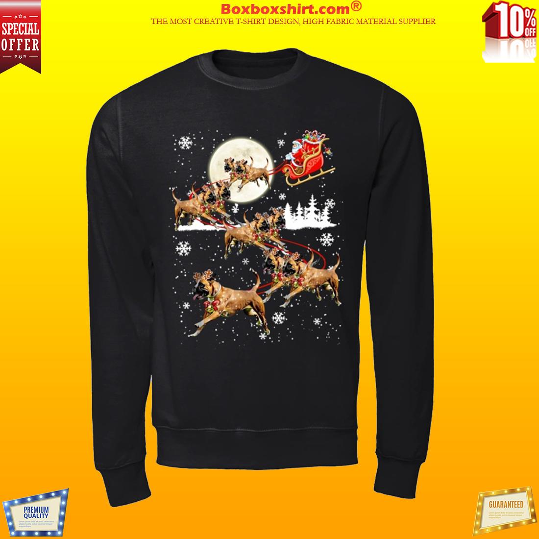 Santa Clause riding pitbull dog shirt and sweatshirt