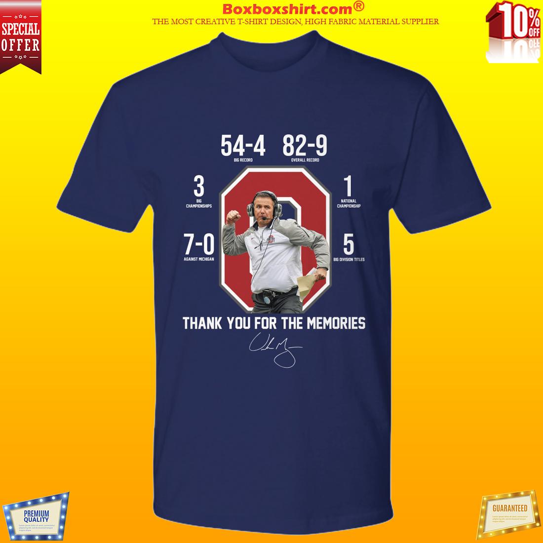 Thank for memories Urban Meyer shirt
