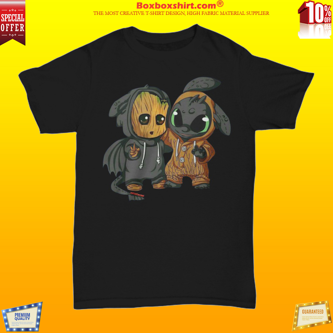 Baby Groot and Toothless dragon unisex shirt
