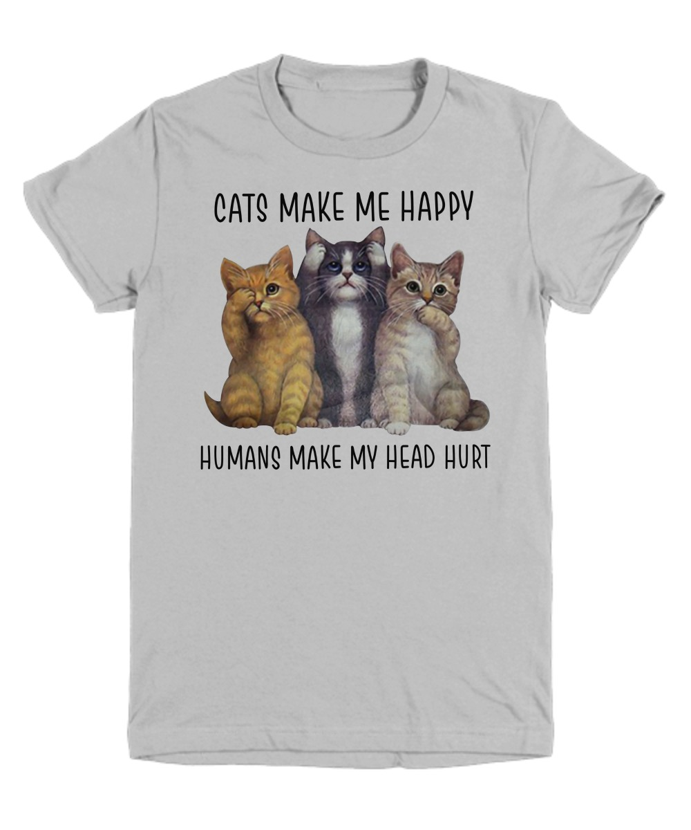 Cats make me happy humans make my head hurt youth tee shirt