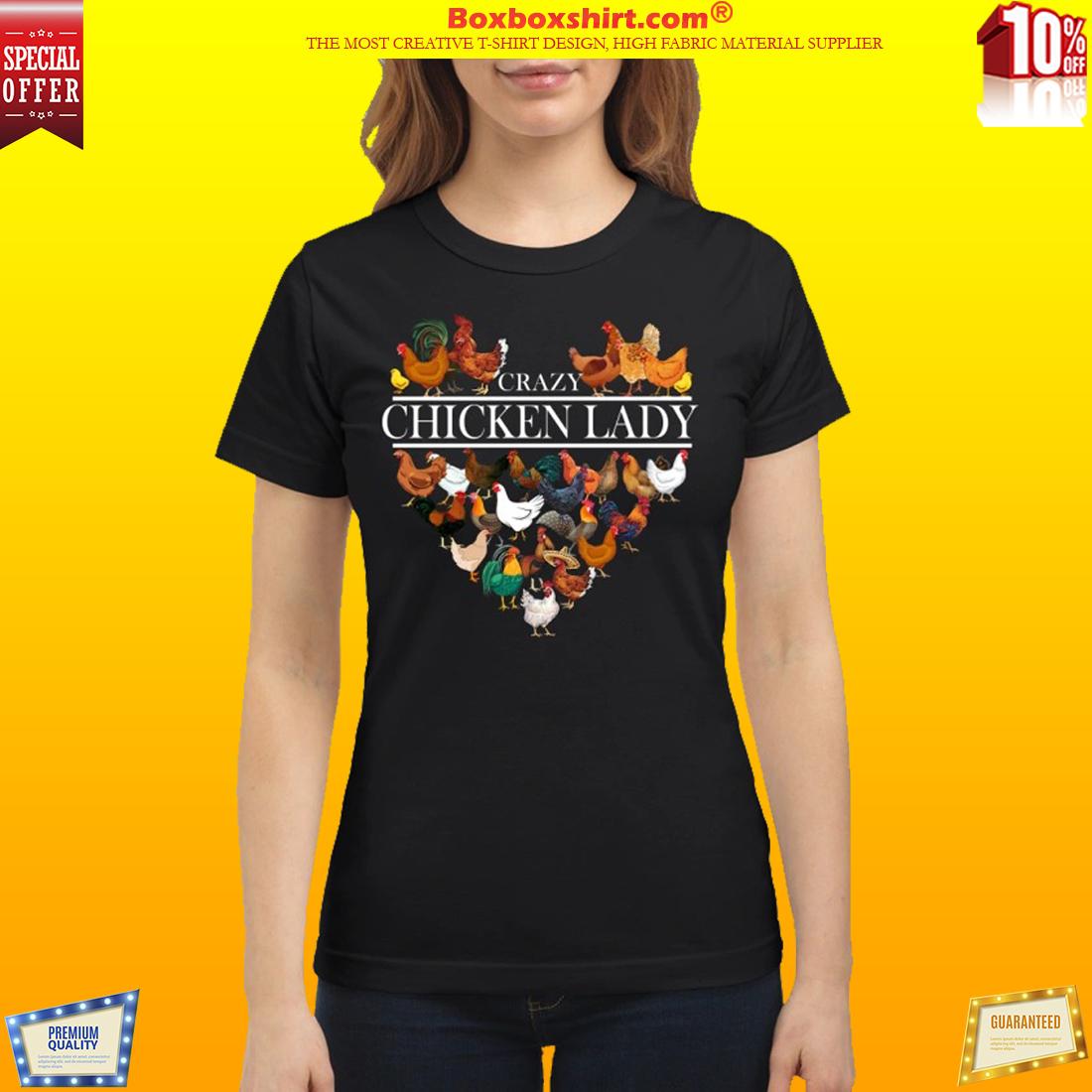 Heart crazy chicken lady shirt