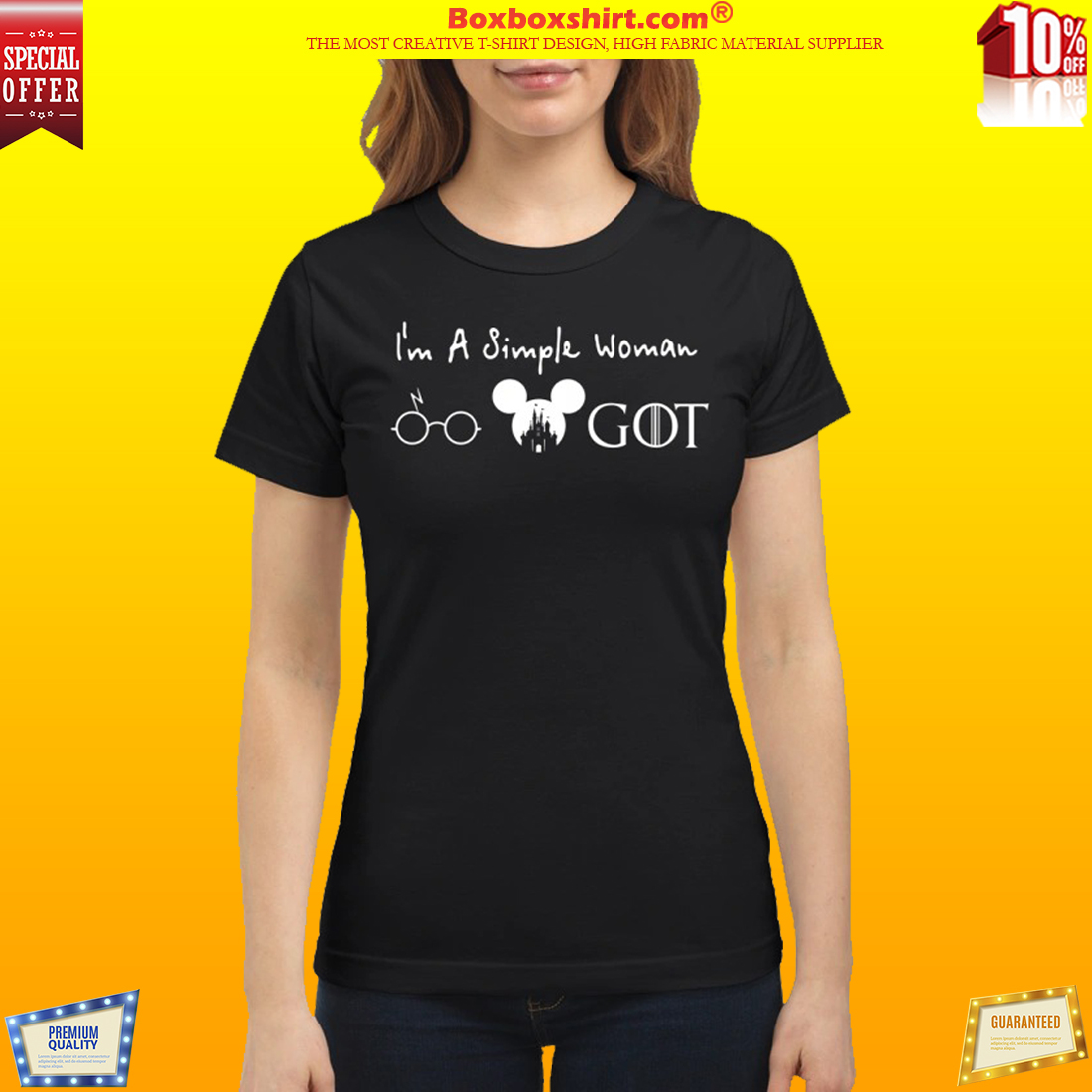 1b638107397 I'm a simple woman Harry Potter Mickey mouse Game of Thrones shirt