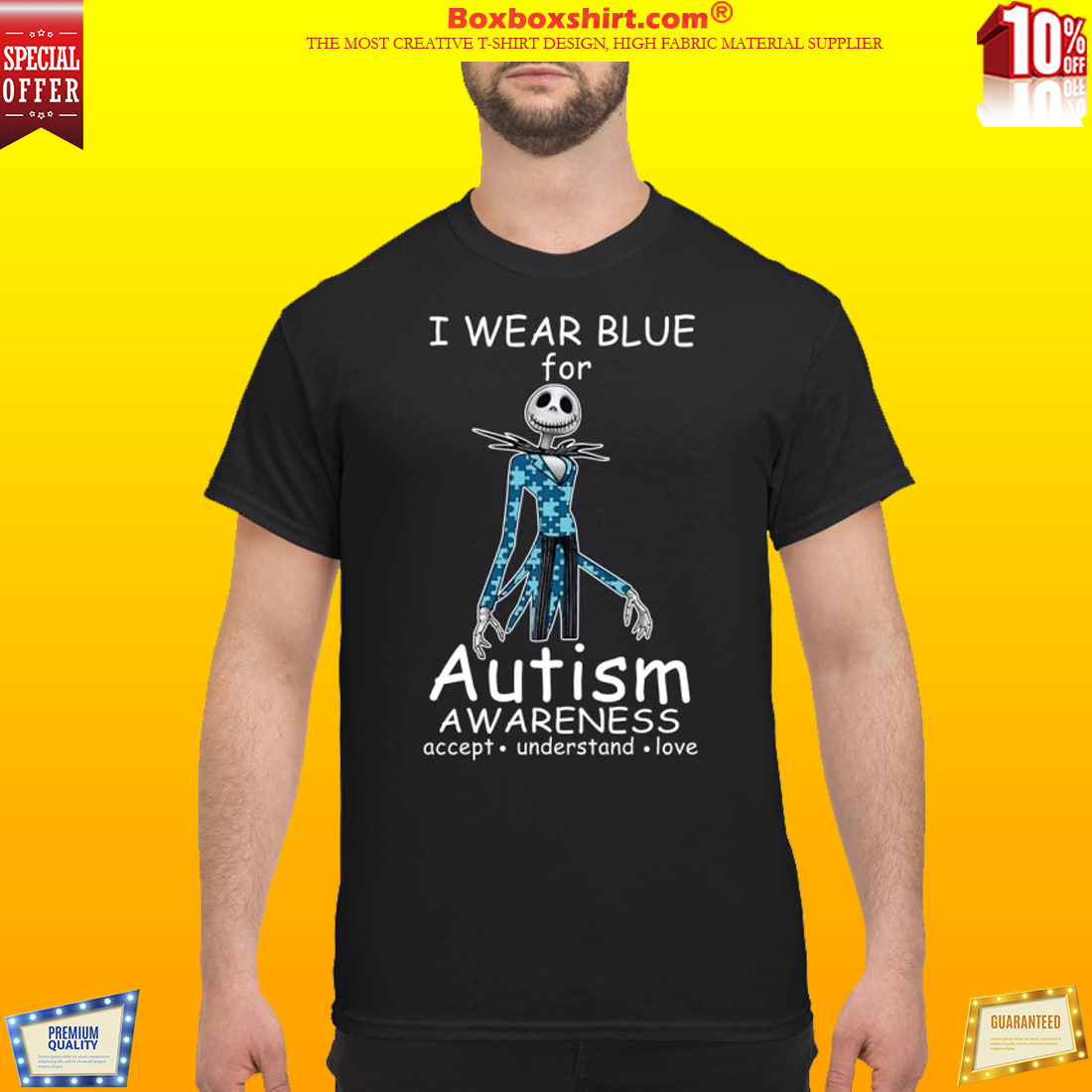 Jack skellington I wear blue for autism awareness classic shirt